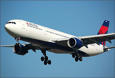 An Airbus A330-300 painted in New Delta livery.
