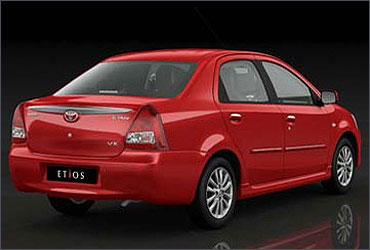 Rear view of Toyota Etios.