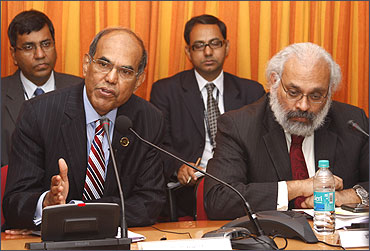 RBI governor D Subbarao and former deputy governor Subir Gokarn.