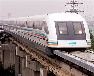 Shanghai's maglev train arrives at Long Yang station.