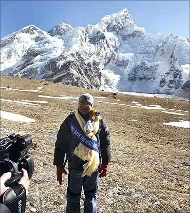 Nepali Prime Minister Madhav Kumar after a cabinet meeting at the Everest base camp.