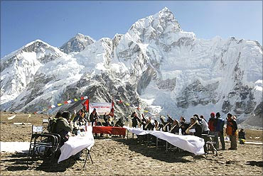 Nepal's cabinet at the Gorakshep camp to send a message on impact of global warming on Himalayas.