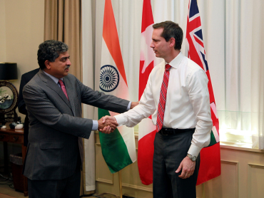 Nilekani being received by Ontario Premier Dalton McGuinty at his Queen's Park office.