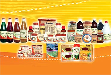 Ramdev's herbal products.