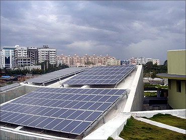 On site solar energy - photo voltaic panels generate electricity.