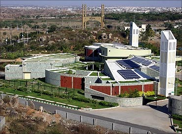 Aerial view of the CII Sohrabji Godrej Green Business Centre Building at Hyderabad.