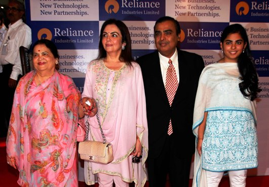 (L-R) Kokilaben, Neeta Ambani, Mukesh Ambani and their daughter Isha arrive for the RIL's AGM.