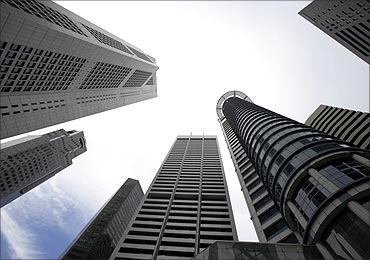 Skyscrapers of Singapore's Raffles Place financial district.