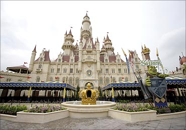 An exterior view shows the castle, a part of Universal Studios theme park in Singapore.