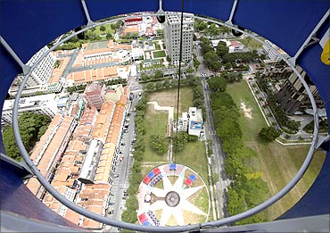A view of Singapore taken from a helium balloon.