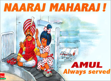 The Amul ad mocks the Air India pilots' strike in May 2011.