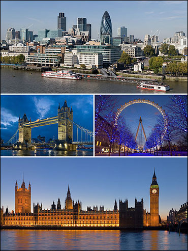 From upper left: City of London, Tower Bridge and London Eye, Palace of Westminster.