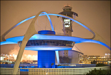 The theme restaurant and control tower at Los Angeles International Airport.