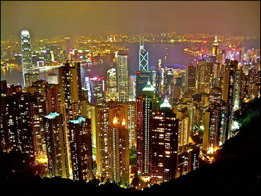 A view from Victoria Peak, looking north over Central District, Victoria Harbour and Kowloon.