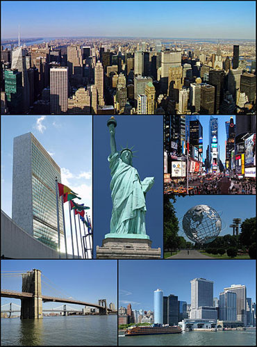 From top L: Midtown Manhattan, UN headquarters, Statue of Liberty, Times Square, Unisphere in Queens, Brooklyn Bridge, Lower Manhattan with the Staten Island Ferry.