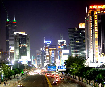 View of Shun Hing Square, Shenzhen, at night.