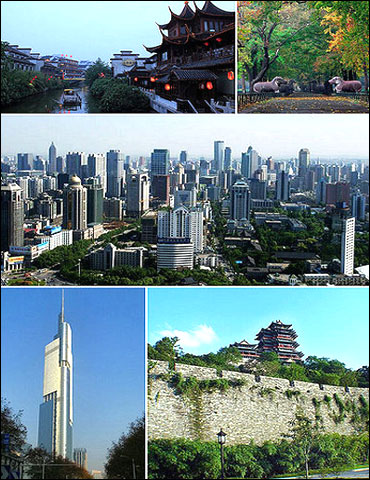 Clockwise from top: Qinhuai River, Ming Xiaoling Mausoleum, Nanjing Downtown, City Wall of Nanjing, Zifeng Tower.