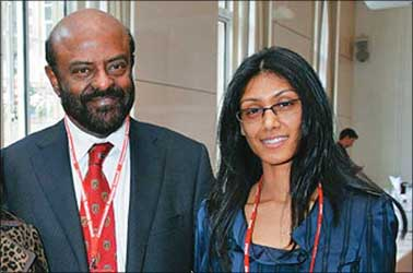 HCL chairman Shiv Nadar with his daughter Roshni.