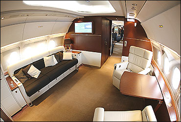 The VIP cabin of a new Airbus A318 Elite at the Airbus delivery facility in Finkenwerder near Hamburg.
