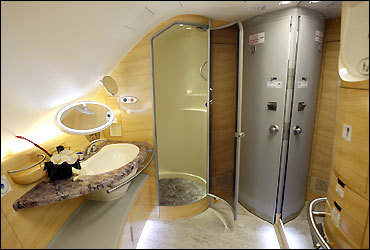 The bathroom with a shower stall for first class passengers is seen inside Emirates' Airbus A380.