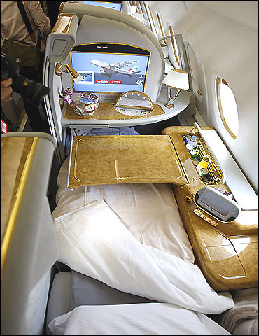 The first class section of the Emirates' Airbus A380.