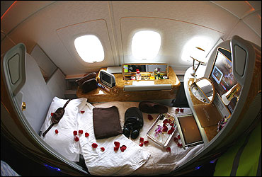 A first class seat on board an Emirates Airbus A380-800 after it landed at Manchester Airport.