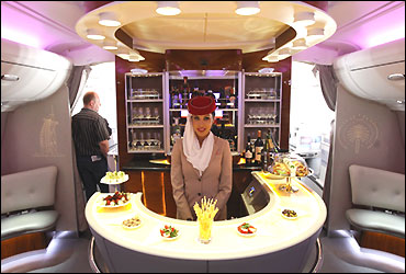 A picture shows the bar in the first class section on board an Airbus A380 passenger plane.