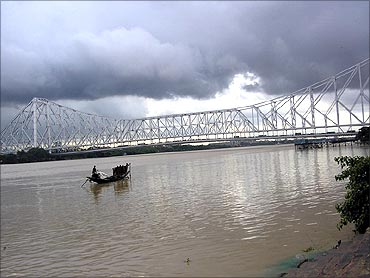 The Howrah Bridge.