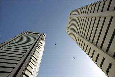 Two towers are seen in the World Trade Centre complex in Mumbai.