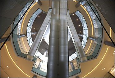 A view of escalators in the mall.