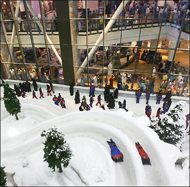 Snow inside The Mall of the Emirates.