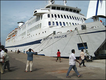 The Scotia Prince ready to leave Tuticorin.