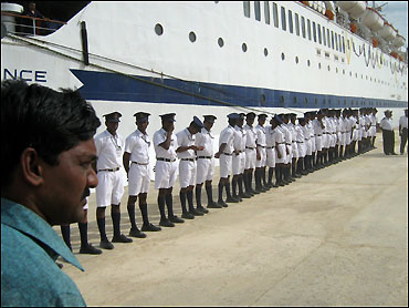 Trainees from the merchant Navy line up.