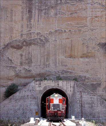 A train passes through a tunnel on Jammu-Udhampur rail line.