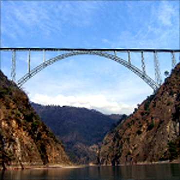 A sketch of the Chenab bridge.