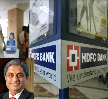 HDFC Bank coughed up Rs 350 crore advanec tax. (Inset) HDFC Bank managing director Aditya Puri.