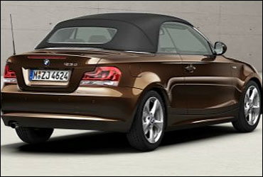 Rear view of a close top BMW 1 Series convertible.