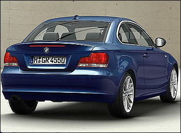 Rear view of BMW 1 Series Coupe.