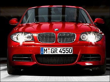 Front view of BMW 1 Series coupe.