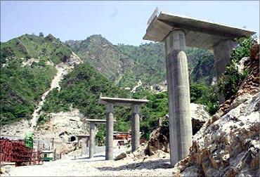 View of Anji Khad Bridge site.