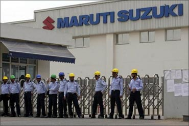 Private security guards outside the Manesar plant.
