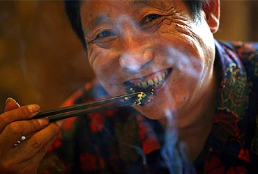 Yang Hongchang, boss of  a snake rearing company eats a snake at a restaurant in Zisiqiao village.