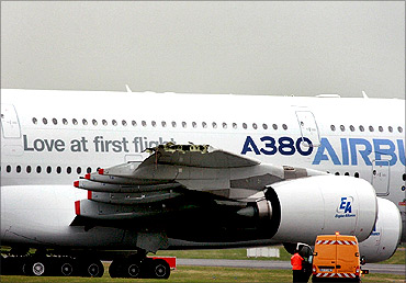 The damaged Airbus A380.