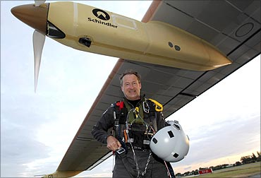 Pilot and CEO of Swiss solar-powered airplane, Solar Impulse Andre Borschberg at Paris.