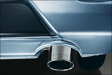 Stylish muffler cutter adds a touch of class.