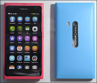 The Nokia N9 smartphone is displayed at a Nokia news conference in Espoo, Finland.