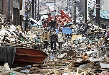 Tsunami hit Japan.