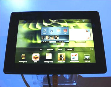 The PlayBook tablet is displayed at the GSMA Mobile World Congress in Barcelona.