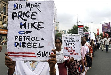 Protest against petrol price hike.