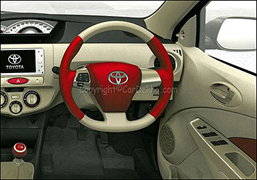 Etios Liva's spacious interiors.